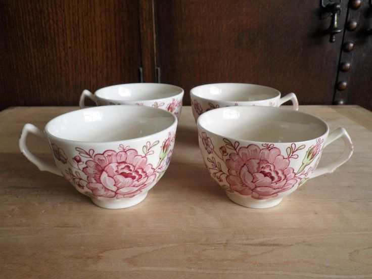 4 Flat Cups Johnson Brothers Rose Chintz Dish Pink Roses