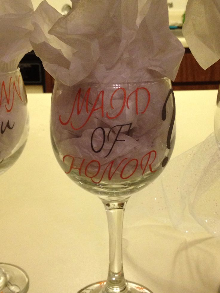 ask your bridal party with wine glasses - cricut
