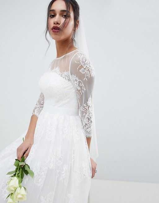 372ff8d8ca8a EDITION Lace Long Sleeve Midi Prom Wedding Dress | Clothes & shoes ...