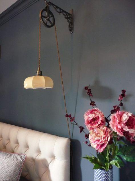Beautiful bedside lights. Visit blog for guest bedroom makeover. Sewing nook, decorating with dark colours.