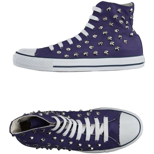 Converse All Star High-tops & Sneakers ($86) ❤ liked on Polyvore featuring shoes, sneakers, purple, converse trainers, converse sneakers, high top trainers, purple high tops and studded sneakers