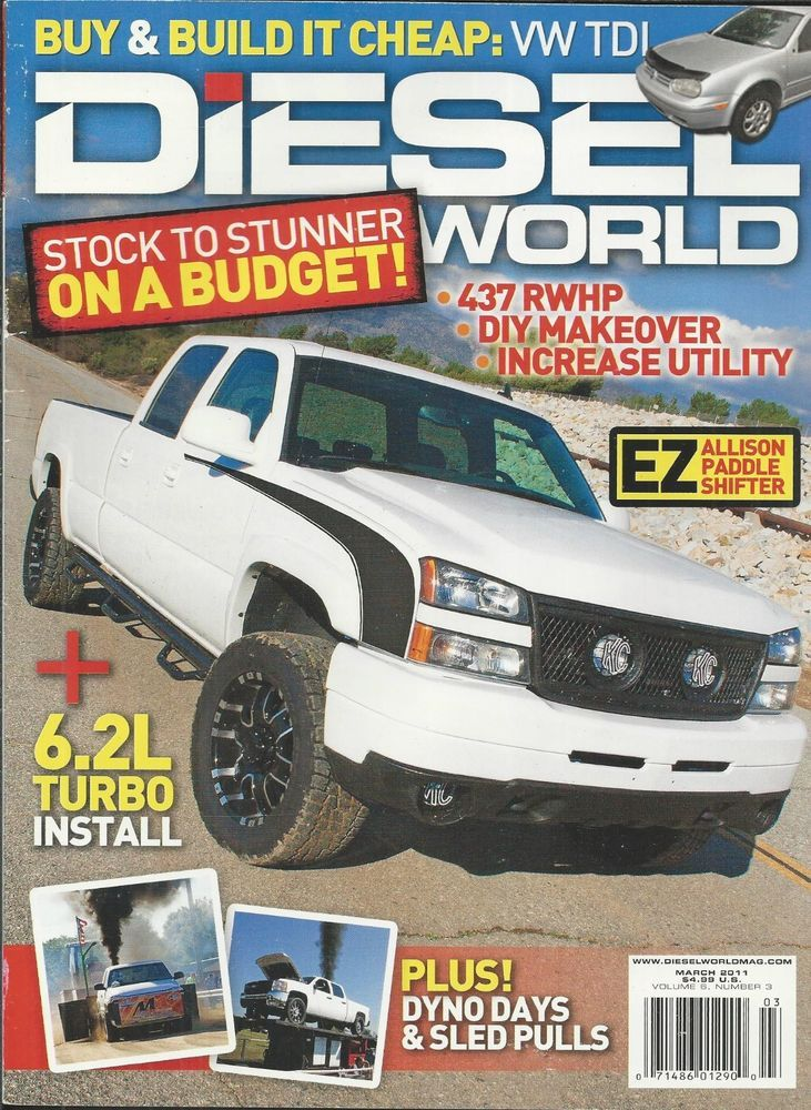 Diesel World magazine Budget truck Turbo install Dyno Sled pull Paddle shifter