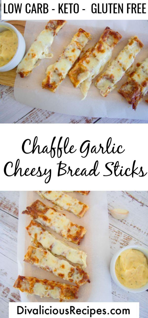 Easy Keto Chaffle Knoblauch Cheesy Brotsticks sind eine schnelle und einfache Vorspeise oder s …   – Keto chaffles