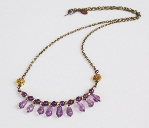 amethyst bronze gold Ancient Greek style by BronzeAgeJewelry, $32.00