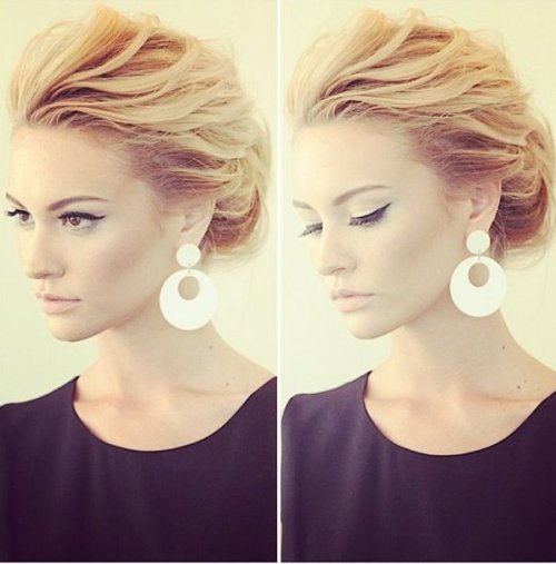 Messy, yet elegant back swept prom updo hairstyle 2015 - messy hairstyle updo 2015
