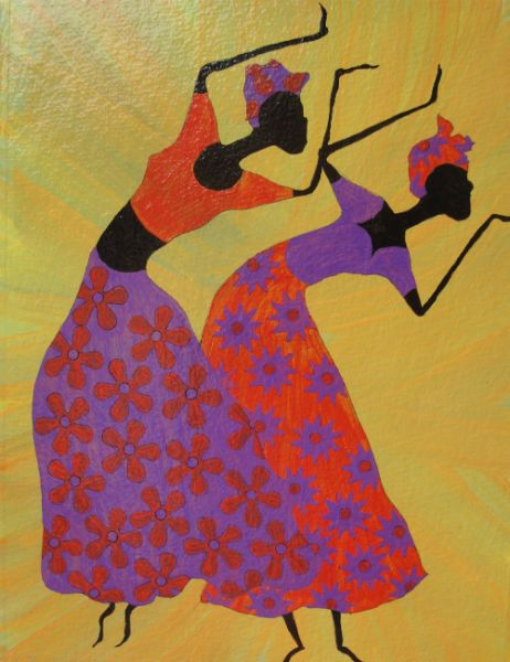 """Dancing Ladies"" - Acrylic Painting by Lorraine Skala - Prints and notecards available at huntgatherandshop.com"