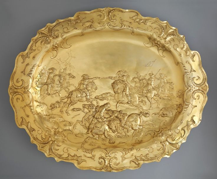Electroformed copy of a silver-gilt basin decorated with the Polish skirmish with the Swedes by Elkington & Co., 19th century, The Metropolitan Museum of Art, original by Hans Jakob I Baur in Augsburg, ca. 1630, from the collection of Ladislaus IV Vasa