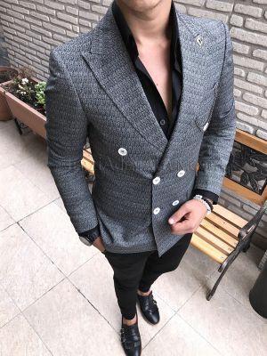Terziademaltun - İtalyan stil Kruvaze tek siyah desenli mavisi erkek blazer ceket T1745 (1)