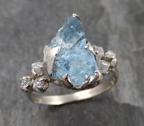 Raw Uncut Aquamarine Diamond white 14k Gold Engagement Ring Wedding Ring Custom …