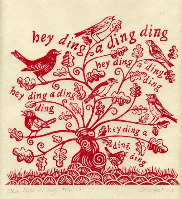 'When Birds Do Sing' (2012) by English illustrator & printmaker Celia Hart. Woodcut, ed of 50. via the artist's site