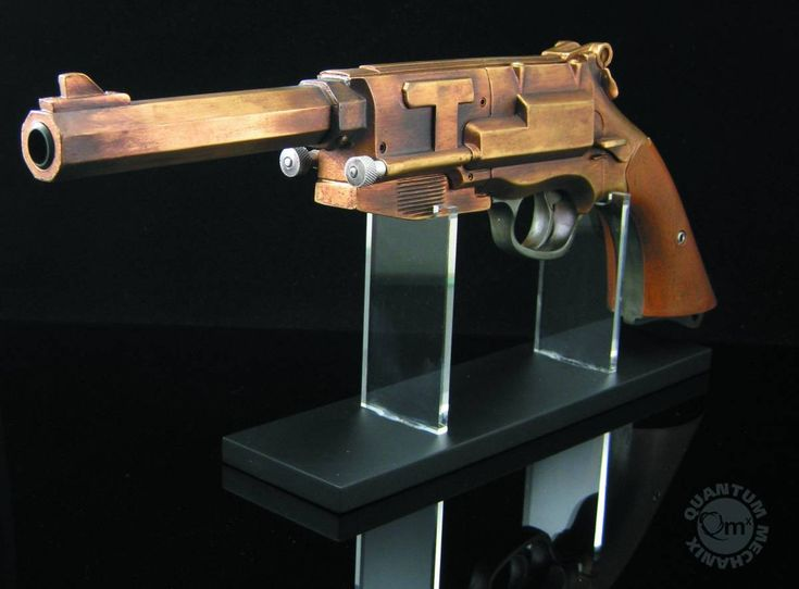 Taken from actual studio molds, the Firefly Malcolm Reynolds Serenity Mal Stunt Pistol is screen accurate in every detail except one: This QMx replica is metal plated to give it that extra heft and cold bronze feel.