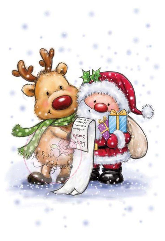 Weihnachtsmann und Rentier Unmontierter Stempel Wild Rose Studio # CL457 Neu