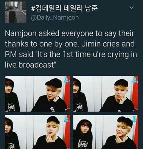 #BTS1stDaesang aww Namjoon honey, let him cry. Jimin is feeling grateful honey