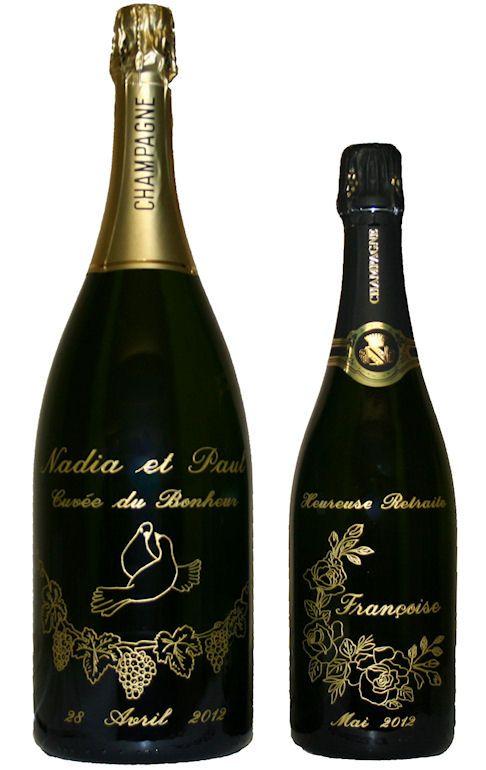 Bouteille de champagne gravée