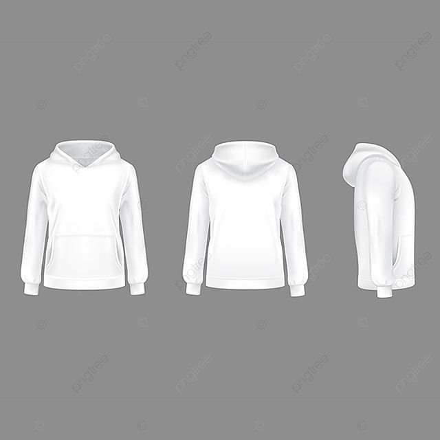 Download Vector 3d Realistic Hoodie Sweatshirt White Mockup Clothes Clipart Pullover Sweatshirt Png And Vector With Transparent Background For Free Download Kaos Ilustrasi 3d Hoodie