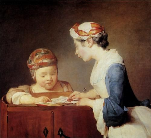 The Young Schoolmistress, 1740, Jean-Baptiste-Simeon Chardin. Note pudding cap.