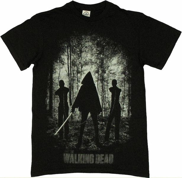 Walking Dead Michonne Introduction T Shirt Relive the dramatic scene from AMC's The Walking Dead with this image from the season 2 finale. This Walking Dead t shirt features the scene introducing Michonne and her two zombie pals.