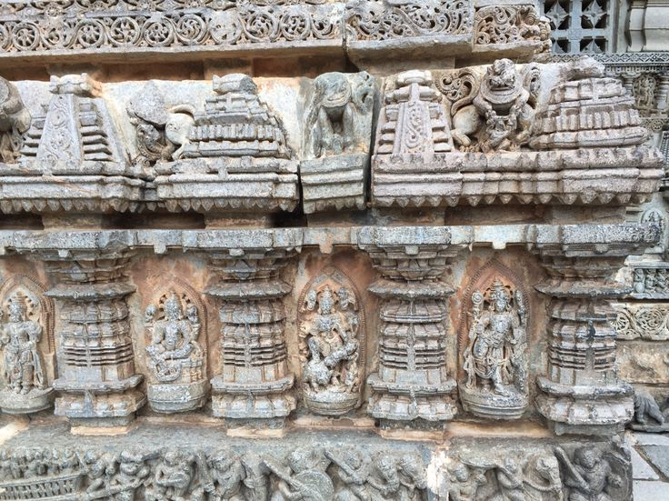 Stone wall on the left side of Chennakeshava temple in Somanathapura. Sculptural zenith of Hoysala style of stone works