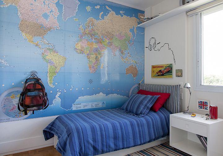 parede, mapa mundi, quarto