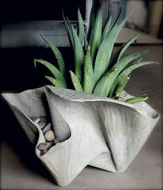 fabric formed concrete succulent container