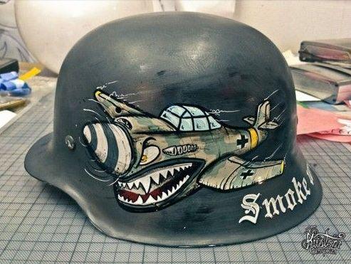 custom paint aircraft on german motorcycle helmet