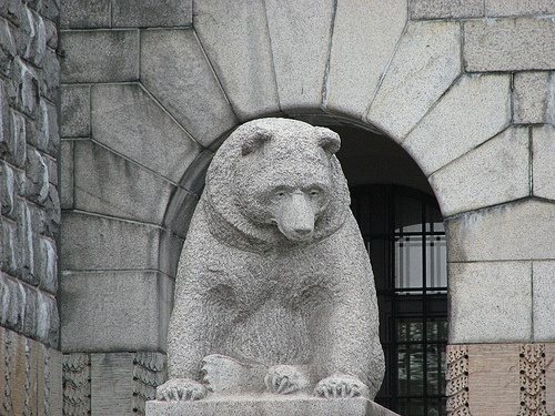 Statue of bear in front of national museum of Finland, Helsinki