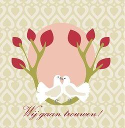 Witte duiven in boom op gekleurde achtergrond. Romantische trouwkaarten voor de mooiste dag van je leven! http://www.trouwpost.nl/trouwkaarten/romantisch
