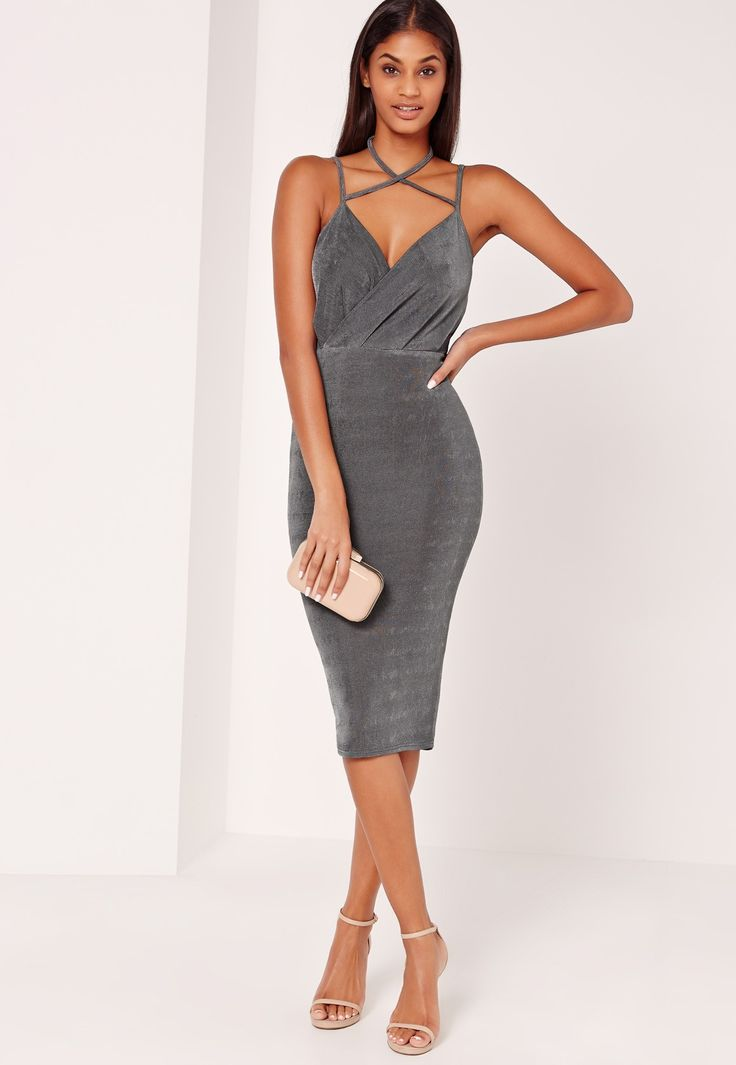 Get wrapped up in charcoal grey for the weekend - featuring a strappy halterneck style, slinky finish, plunge neckline and a midi length.