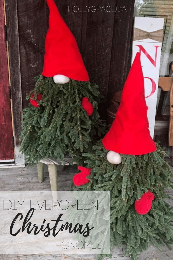 DIY Evergreen Gnomes Christmas porch Easy christmas
