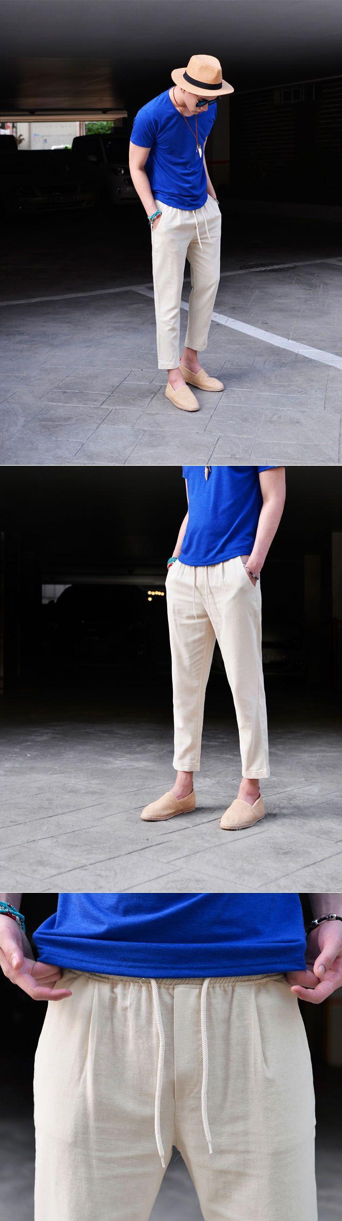 Linen Banding Cropped Turn-up-Pants 238 by Guylook.com  #menswear #guylook…