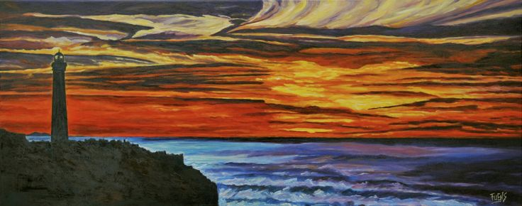 """""""Faro de Biarritz """" Óleo sobre lienzo 40×100 cm Fuensanta R.Urien"""