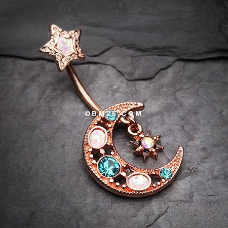 Rose Gold Celestial Opal Moon Star Belly Button Ring ...