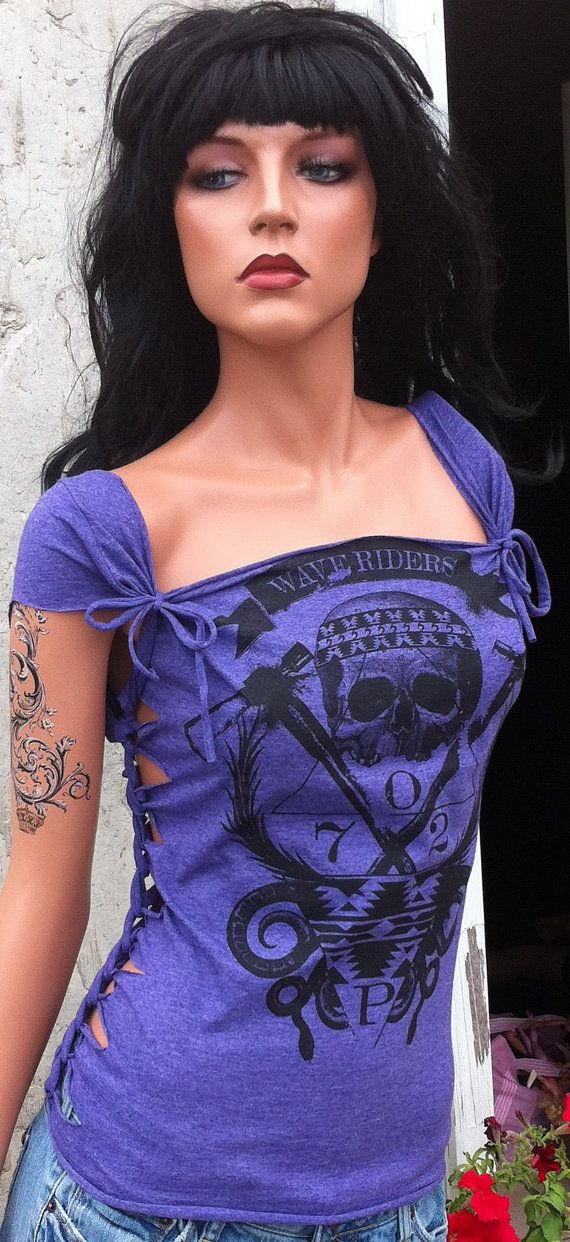 Purple Beach Skull Shredded Shirt by TShreds on Etsy, $45.00