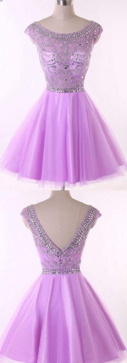 Lavender A-line/Princess Homecoming Dresses, Lavender Homecoming Dresses, A-line/Princess Homecoming Dresses, Short Homecoming Dresses, Homecoming Dresses Short, Pretty Homecoming Dresses, Short Tulle dresses