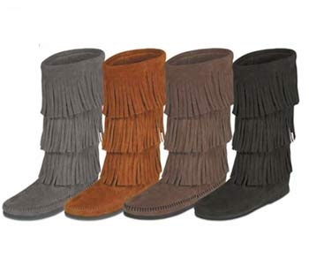 Minnetonka Moccasin Three Layer Boots In four Colors From Tribal Impressions And Indian Village Mall.