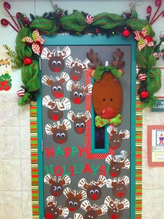 M s de 25 ideas nicas sobre decoraciones de las puertas for Salones decorados para navidad