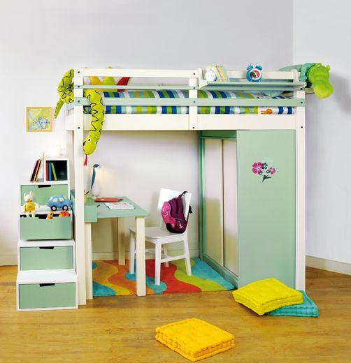 Espace loggia lit mezzanine ju enfant meuble contemporain design gain de place bois massif genève