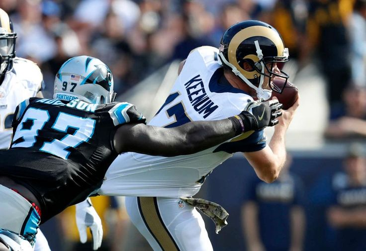 Panthers vs. Rams:  13-10, Panthers  -     Los Angeles Rams quarterback Case Keenum, right, is sacked by Carolina Panthers defensive end Mario Addison during the first half of an NFL football game, Sunday, Nov. 6, 2016, in Los Angeles.