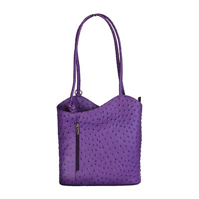 Multi-Way Purple Ostrich Leather Shoulder Bag/Backpack - £49.99