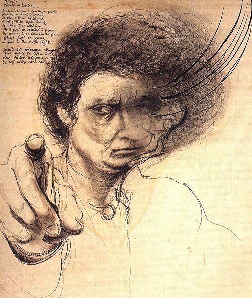 Brett Whiteley ~ Remembering Lao Tse (Shaving off a Second) (self-portrait), 1967
