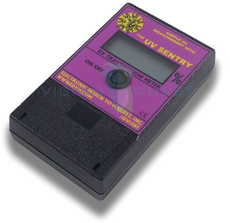 he UV SENTERY Transmission Meter is an excellent sales tool for demonstrating the UV blocking capabilities of a given product. The UV SENTERY may be used to measure the UV characteristics of glass, film, coatings, laminates, or other materials. Buy it here $150.00