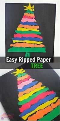 Easy Ripped Paper Tree Craft! A fun way to work on fine motor skills this holiday season with preschool and toddlers. #christmascrafts