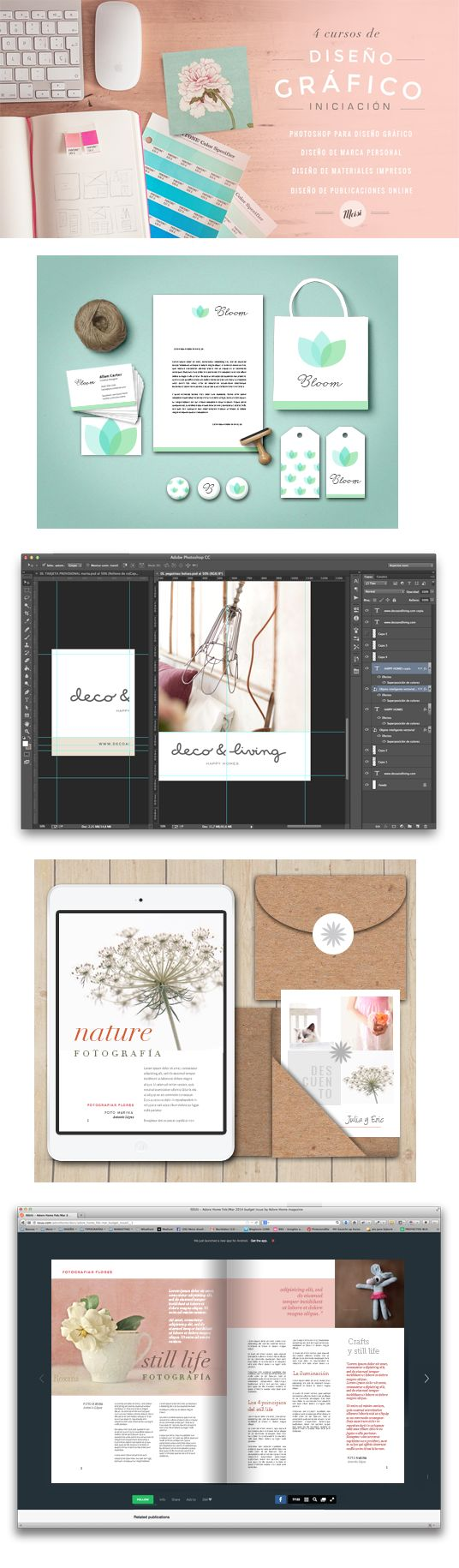 Cursos de diseño gráfico para bloggers: Photoshop para diseño gráfico  Diseño de marca personal   Diseño de materiales impresos y no impresos Diseño de publicaciones online  #diseñografico #blog #photoshop #marcapersonal #cursos #cursosonline