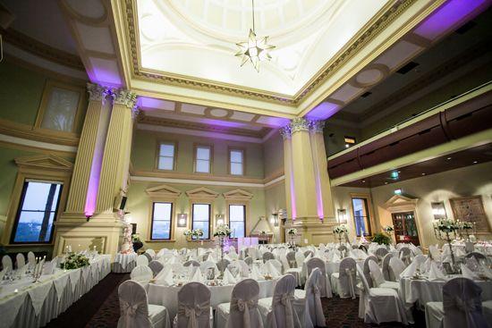 Purple uplighting at Customs House Brisbane | G&M DJs | Magnifique Weddings #gmdjs #magnifiqueweddings #weddinglighting #weddingdjbrisbane @gmdjs