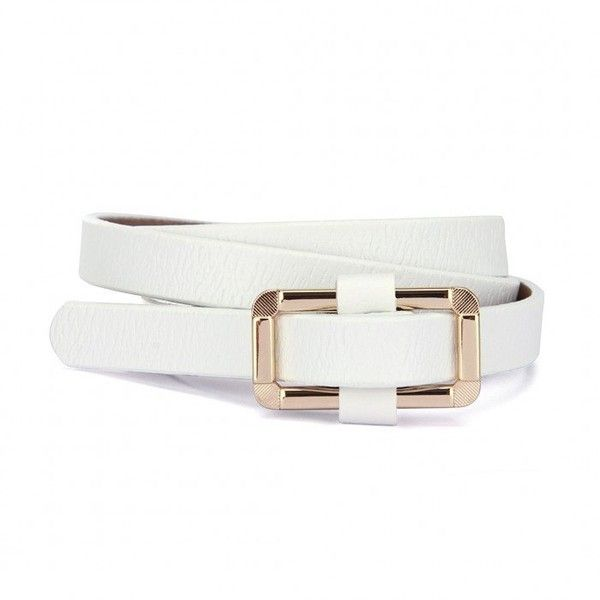 Yoins White Gold-tone Hardware Belt (£4.32) ❤ liked on Polyvore featuring accessories, belts, white, buckle belt, white skinny belt, white buckle belt, thin belt and vegan belt