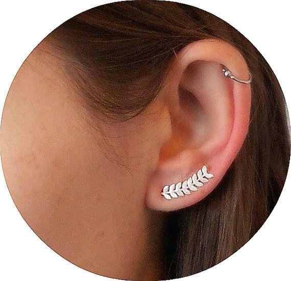 Leaf Ear pins Ear pin Earrings Ear Cuff Earrings by PekiDesign