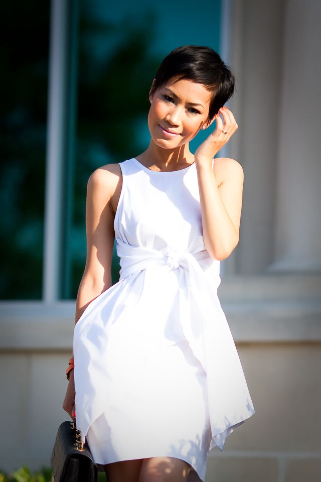 alexander wang dress.....Love the dress and the Pixie hair!