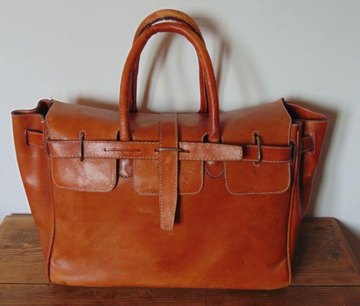 lederen (weekend) tas, jaren 70 | Handtassen / reistassen | iconic