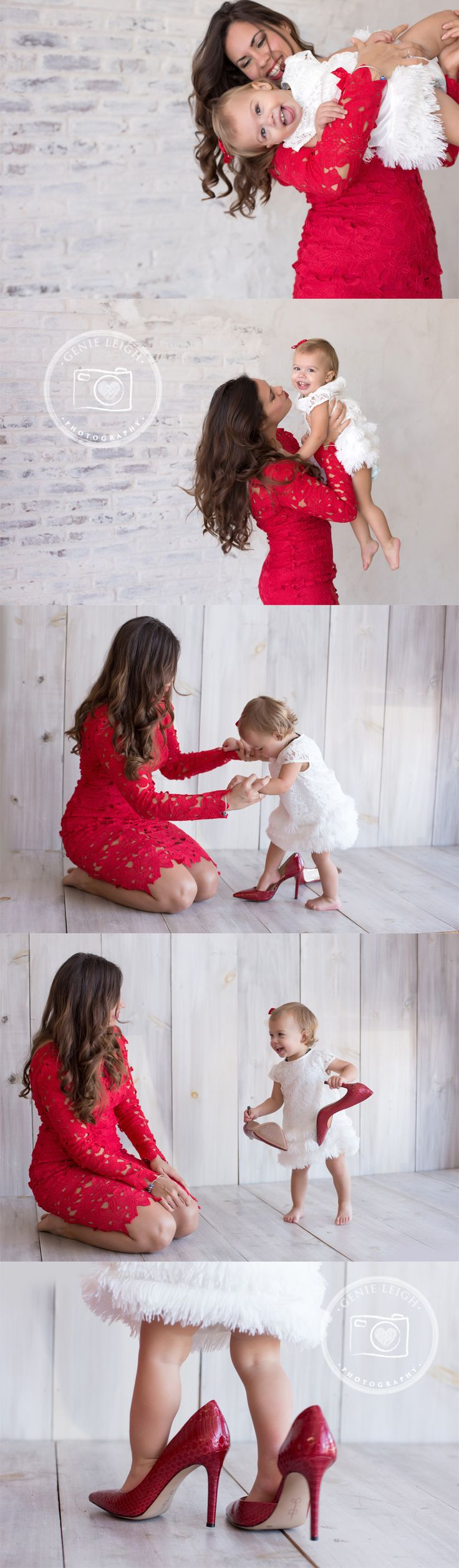 Genie Leigh Photography, Studio, Shallotte, NC, Wilmington Portrait, Family Photography, Baby Photo Session, Mommie & Me, What to wear photo session, Red Lace, Mommy & Baby