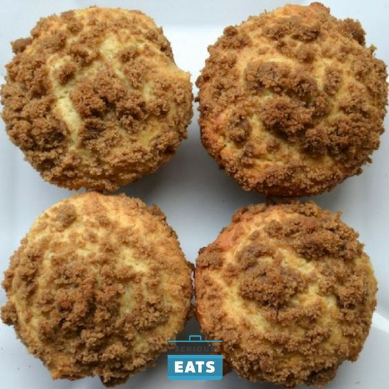 Coffee cake, with its sweet center and crumble topping, make a great dish to serve at a brunch, or bring to a potluck. The only real downside to a coffee cake is serving it. You need a cake server, forks, plates, napkins—a lot for a piece of cake. Which is why this recipe turns coffee cake into muffins.